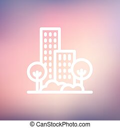 Building and trees thin line icon