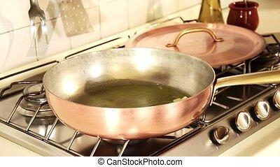 mussels marinara in copper pot