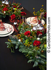 decoration on christmas table - holiday table decoration for...