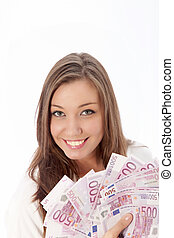 Young woman holding many euro notes in her hand - Young...