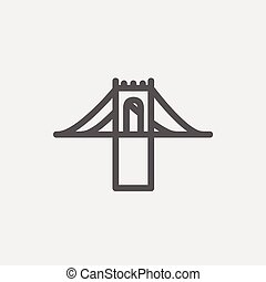 Bridge thin line icon - Bridge icon thin line for web and...