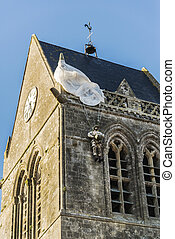 St Mere Eglise - the famous church with the manequin of...