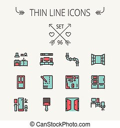 Construction thin line icon set for web and mobile. Set...