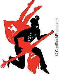 Rock and roll - Red and black silhouette of a couple dancing...