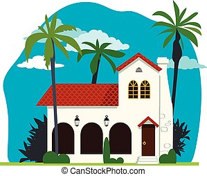 Spanish colonial house - Spanish colonial or mission revival...
