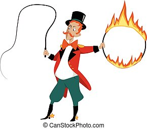Cartoon lion tamer with a flaming hoop and whip, no...