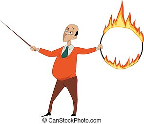 Teacher with a flaming hoop - Teacher with a pointer and a...