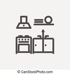 Kitchen interior thin line icon - Kitchen interior icon thin...
