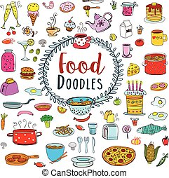 Meal and ware doodle set - Doodle food set of 80 various...