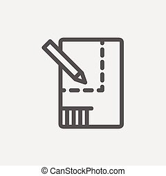 Paper and pencil house sketching thin line icon