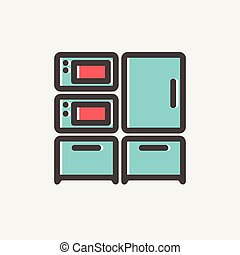 Home Kitchen oven and microwave thin line icon