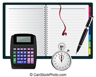 note with calculator, pen and stopwatch