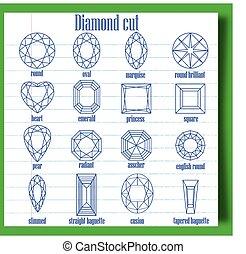diamond cut - types of diamond cut on notebook paper