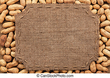 Figured frame made of burlap on peanut, with space for your...