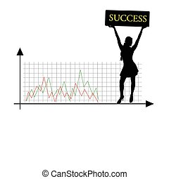 success girl vector silhouette