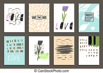 Hand drawn design - Set of 8 trendy invite cards. Hand Drawn...