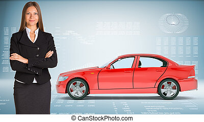 Businesslady with car - Businesslady with red car looking at...