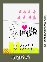 Handdraw card - trendy invite cards Hand Drawn design...