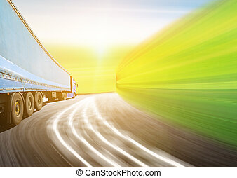 White truck on the highway. Picture with space for your text