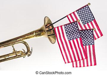 americano, trompete, bandeira