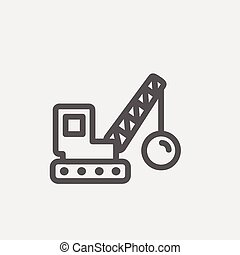 Demolition trailer thin line icon - Demolition trailer icon...