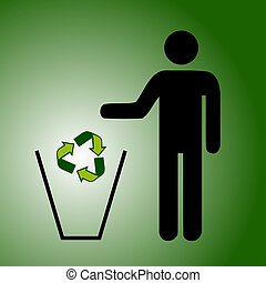 Recycle trash green - recycle sign dropping in a trash by...