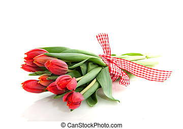 bouquet red tulips - bouquet fresh red tulips with checkered...