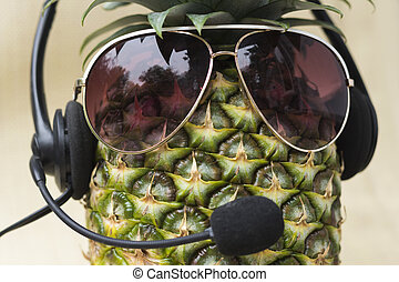 Cool Pineapple - Cool pineapple with sunglasses and headset...