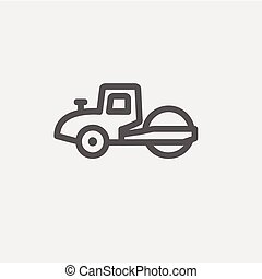 Road roller thin line icon - Road roller icon thin line for...
