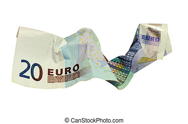 crumpled bank note isolated