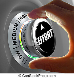 Hand rotating a button and selecting the level of effort...