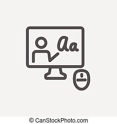 Laptop and mouse in online tutorial thin line icon - Laptop...