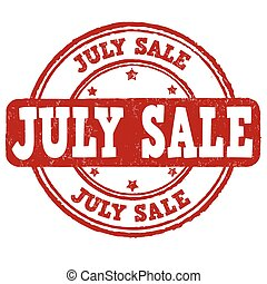 July sale stamp - July sale grunge rubber stamp on white,...