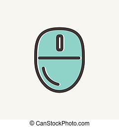 Computer mouse thin line icon