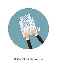Programming Coding Concept Flat Background Vector...