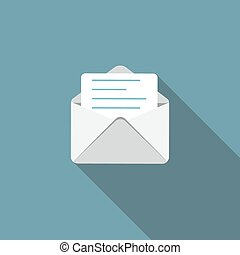 E-Mail Flat Icon with Long Shadow, Vector Illustration