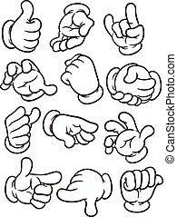 Cartoon hands making different gestures. Vector clip art...