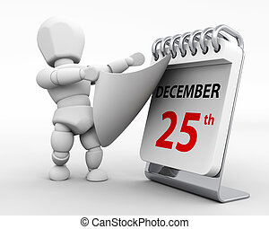 christmas day - 3D render of a man with a calender tearing...