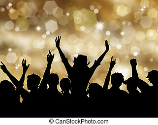 Christmas party - Silhoeutte of an excited crowd on a...