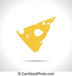 Vector cheese icon Eps10 - Vector yellow slab of cheese flat...