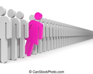 Leader of team Men and woman - A woman looks out from the...