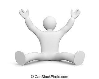 Man rejoices something - 3D man rejoices something hands up...