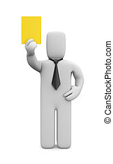 Person showing yellow card - Image contain the clipping path
