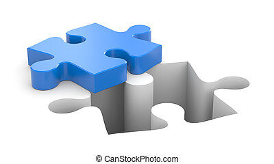 Puzzles metaphor - Business concept. Isolated on white