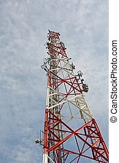 Transmitter - Communication transmitter tower against clear...