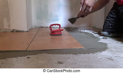 hand tile cement floor