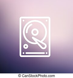Hard disk thin line icon - Hard disk icon thin line for web...