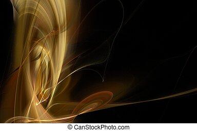 Golden Swirl - Golden smokelike fractal in a swirl pattern...