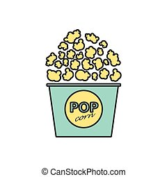 Vector popcorn icon Eps10 - Vector flat popcorn icon...