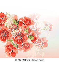 Floral vector background with red poppy flowers in soft morning light.eps